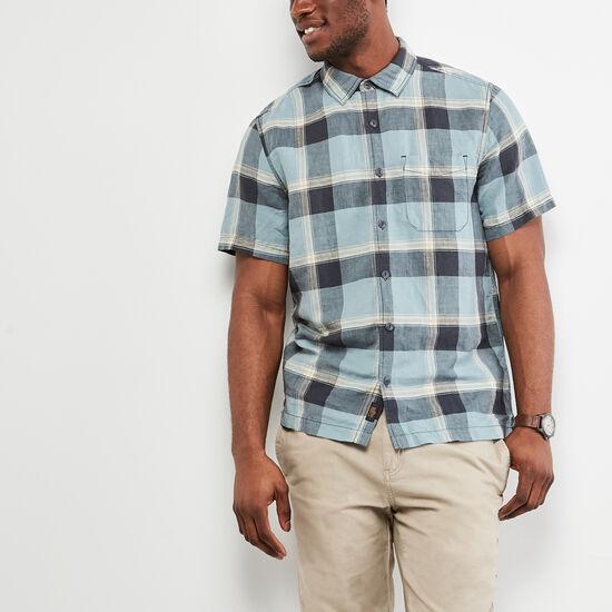Roots-Men Tops-Foxley Short Sleeve Shirt-Blue Mix-A