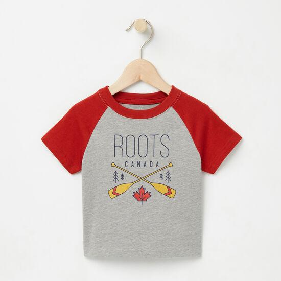 Roots-Enfants T-shirts-Bébés Haut Manches Raglan Knox-Mélange Gris-A