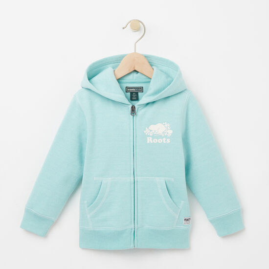 Roots-Kids Toddler Girls-Toddler Colour Pepper Original Full Zip Hoody-Pastel Turquoise Ppr-A