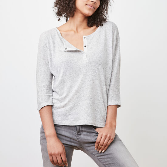 Roots-Women Long Sleeve T-shirts-Nanoose Henley-Light Grey Mix-A