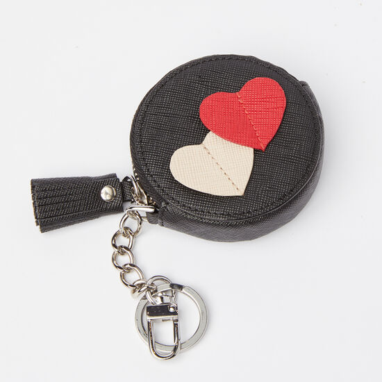 Roots-Leather Small Leather Goods-Double Heart Coin Pouch-Black-A