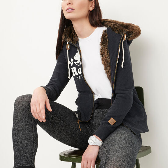 Roots-Women Online Exclusive-Heritage Fur Beaver Hoody-Black Mix-A