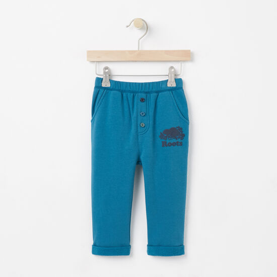 Roots-Kids Bottoms-Baby Damian Cozy Fleece Pant-Heirloom Blue-A