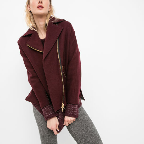 Roots-Women Jackets-Charlotte Coat Melton-Burgundy-A