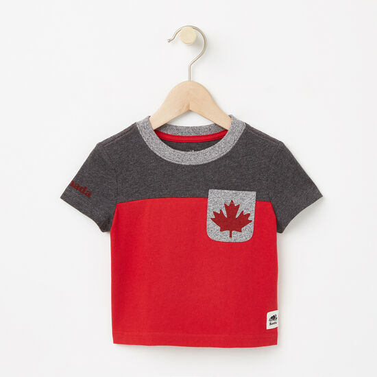 Roots-Kids Baby Boy-Baby Canada Blocked Pocket Top-Charcoal Mix-A