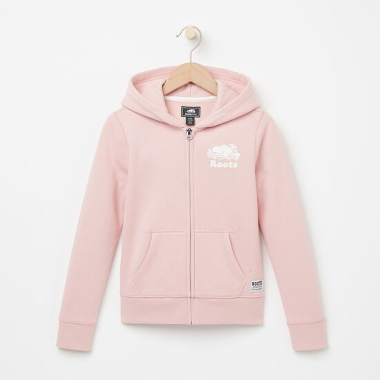 Roots-Kids Tops-Girls Original Full Zip Hoody-Silver Pink-A