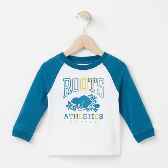 Roots-Sale Kids-Baby Damian Baseball T-shirt-Heirloom Blue-A