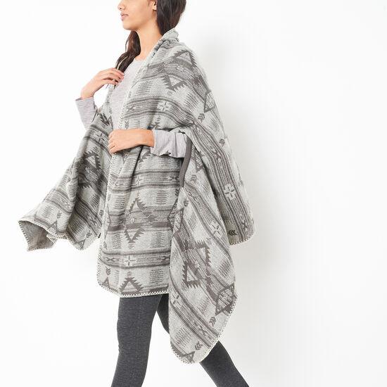 Roots-Women Scarves & Wraps-Pendleton Keyhole Wrap-Steel Grey-A