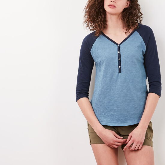 Roots-Women Long Sleeve T-shirts-Nina Baseball Henley-Copen Blue-A