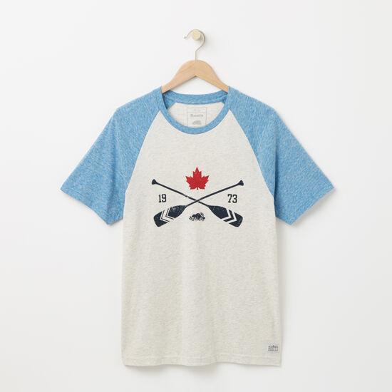 Roots-Men Graphic T-shirts-Georgian Raglan T-shirt-Almond Milk Mix-A