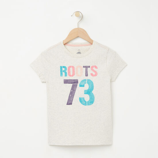 Roots-Kids T-shirts-Girls Roots 73 T-shirt-White Grey Mix-A
