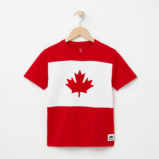 Roots-Kids T-shirts-Boys Blazon Maple T-shirt-Sage Red-A