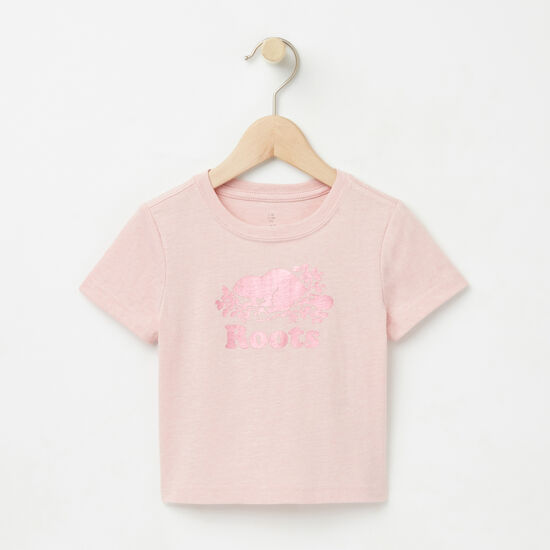 Roots-Kids T-shirts-Baby Foil Cooper Beaver T-shirt-Silver Pink Mix-A