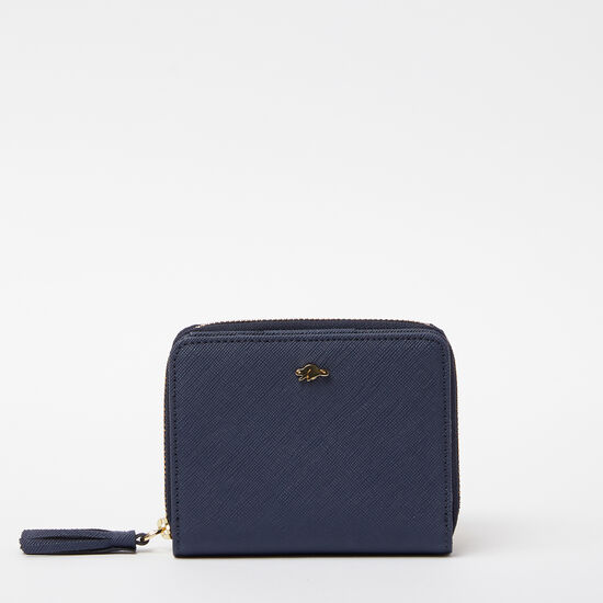 Roots-Women Wallets-Small Tassel Wallet Saffiano-Dark Indigo-A