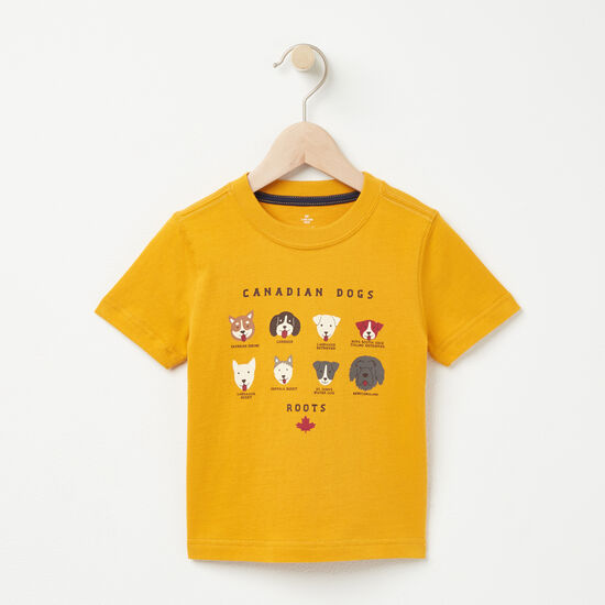 Roots-Kids Toddler Boys-Toddler Canadian Dogs T-shirt-Ancient Gold-A