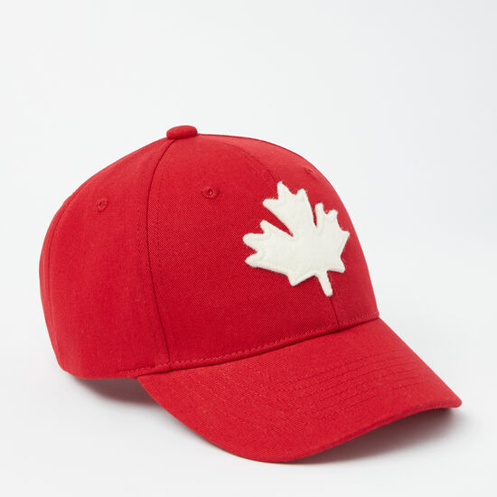 Roots-Kids Accessories-Kids Canada Leaf Baseball Cap-Sage Red-A