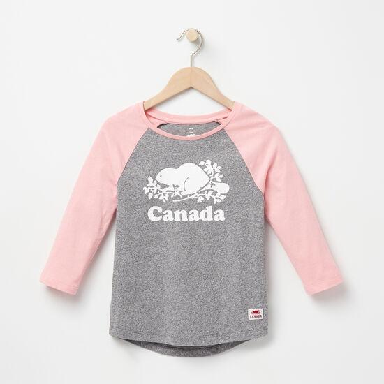 Roots-Kids Features-Girls Canada Baseball T-shirt-Salt & Pepper-A