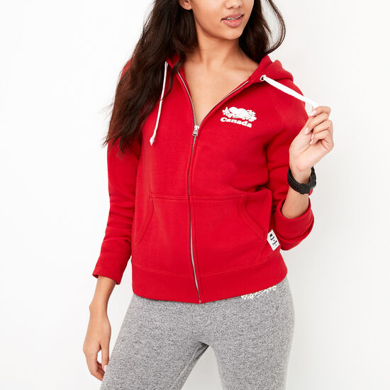 Roots-Men Women's-Womens Cooper Canada Full Zip Hoody-Sage Red-A