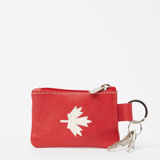 Roots-Women Leather-Maple Leaf Top Zip Pouch Prince-Canadian Red-A