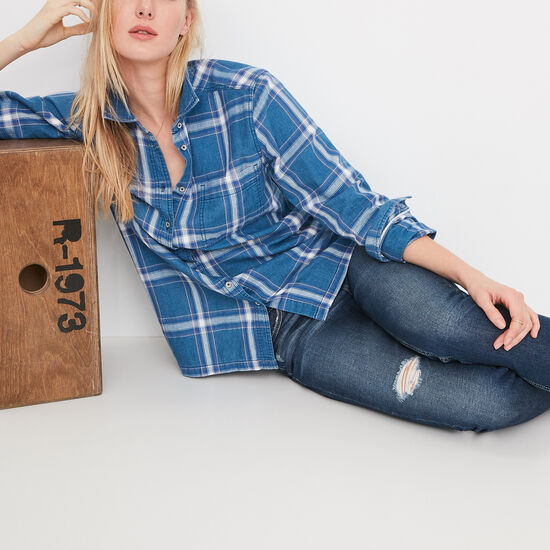 Roots-Women Shirts-Marina Indigo Shirt-Indigo Blue-A