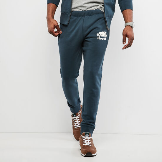 Roots-Men Bottoms-Terry Park Slim Sweatpant-Dark Deep Teal Blue-A