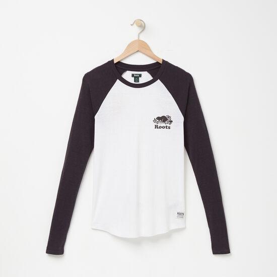Roots-Women Graphic T-shirts-Laci Softball T-shirt-White-A