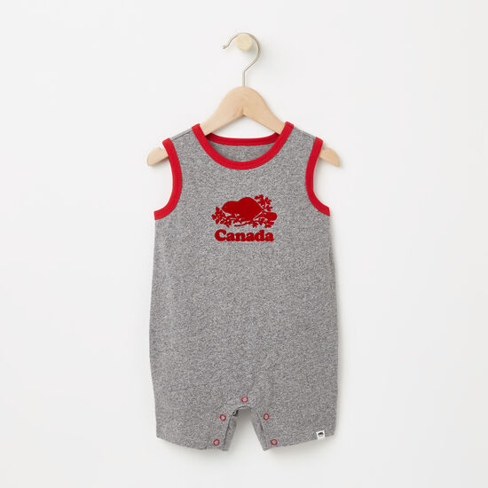 Roots-Kids Rompers & Onesies-Baby Cooper Canada One Piece-Salt & Pepper-A