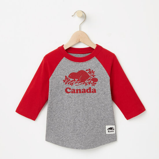 Roots-Kids Toddler Boys-Toddler Canada Baseball T-shirt-Sage Red-A
