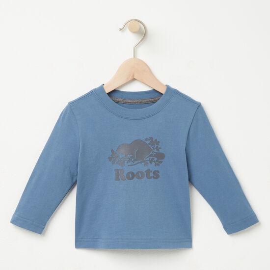 Roots-Kids Baby Boy-Baby Cooper Beaver T-shirt-Copen Blue-A