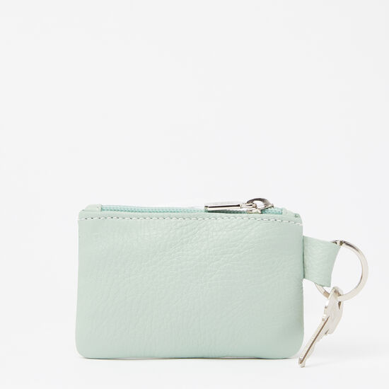 Roots-Women Leather Pouches-Top Zip Key Pouch Prince-Seafoam-A