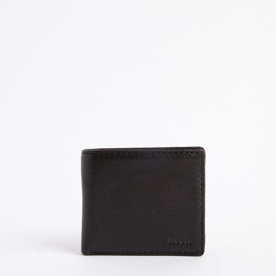 Roots-Leather Men's Wallets-Mens Slimfold With Coin Prince-Black-A