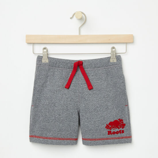 Roots-Kids Bottoms-Girls Cooper Canada Sweat Shorts-Salt & Pepper-A