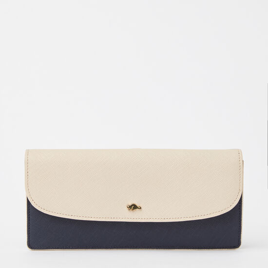 Roots-Leather Women's Wallets-Slim Curve Wallet Saffiano-Navy/ Light Pink-A