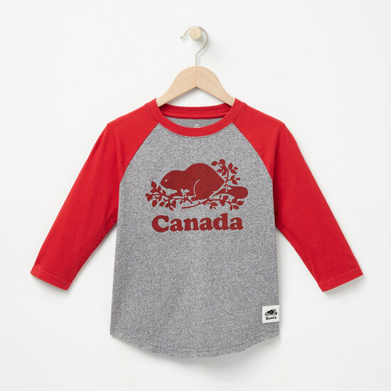 Roots-Kids New Arrivals-Boys Canada Baseball T-shirt-Salt & Pepper-A
