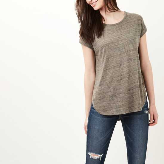 Roots-Women Short Sleeve T-shirts-Piper Top-Dk Flaxseed Mix-A