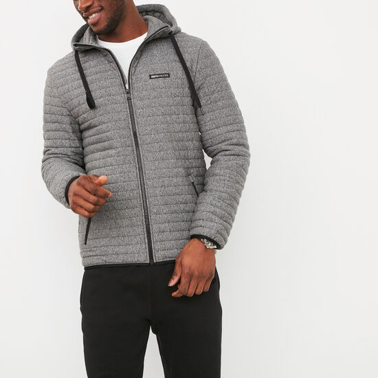 Roots-Men New Arrivals-Champlain Quilted Zip Hoody-Salt & Pepper-A