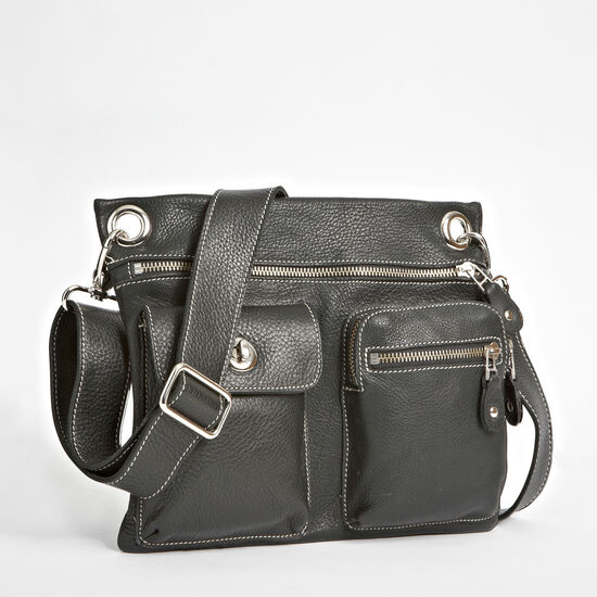 Roots-Leather Roots Original Flat Bags-Village Bag Prince-Black-A