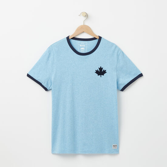 Roots-Men Tops-Camp Canada Ringer T-shirt-Light Cascade Mix-A