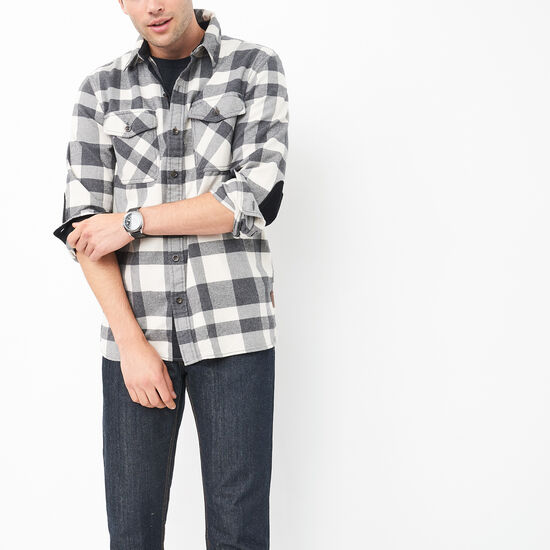 Roots-Men Shirts-Trailblazer Flannel Shirt-Moonbeam-A