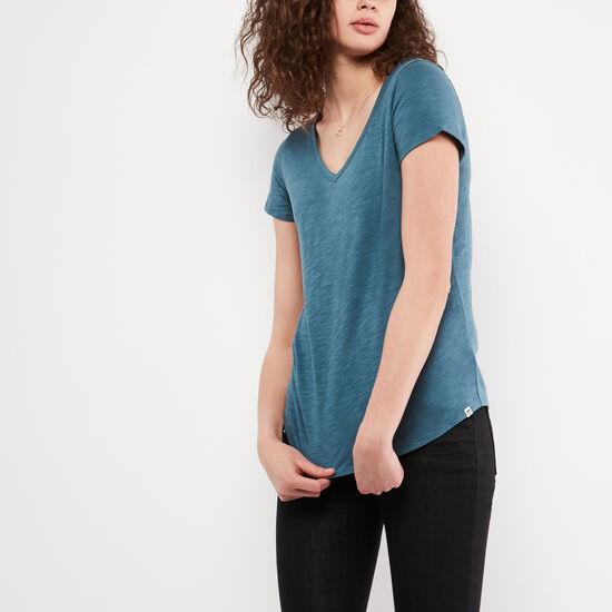 Roots-Femmes Tshirts-T-shirt Victoria-Bleu Turquoise Foncé-A