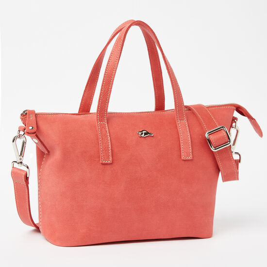 Roots-Women Shoulder Bags-Small Zoe Tribe-Coral-A