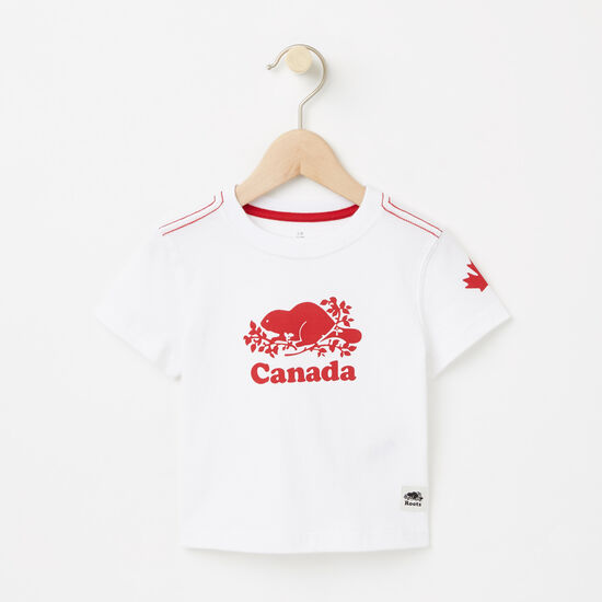 Roots-Kids Baby Boy-Baby Cooper Canada T-shirt-White-A