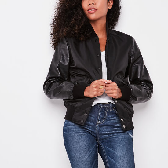 Roots-Women Leather Jackets-Womens Varsity Jacket Nylon/leather-Black-A