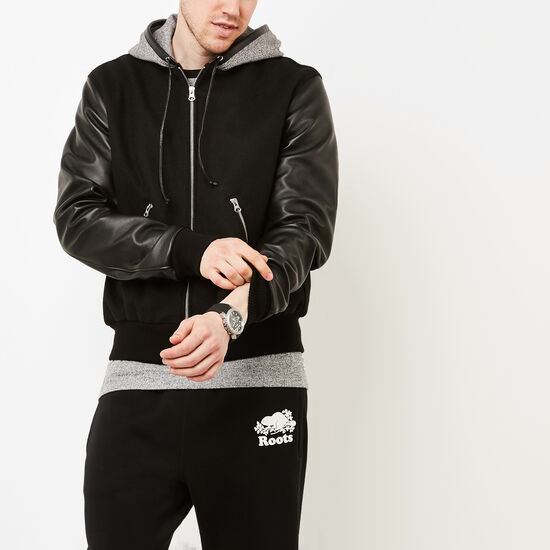 Roots-Leather Leather Jackets-Mens Hoody Melton/Navigator-Black-A