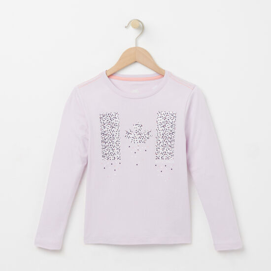 Roots-Kids T-shirts-Girls Confetti Canada T-shirt-Lavender Blue-A