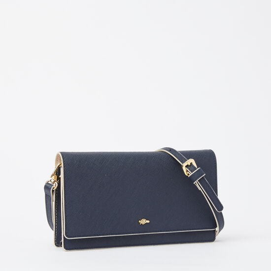 Roots-Leather Women's Wallets-Evening Wallet Bag Saffiano-Navy/ Light Pink-A
