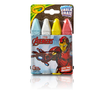 4 ct. Iron Man Washable Sidewalk Chalk - Color Your Heroes!