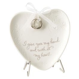 Wedding Heart Plaque With Stand, , large