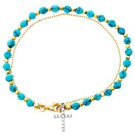 Gold Plated Sterling Silver Turquoise Beaded Cross Bracelet, , large