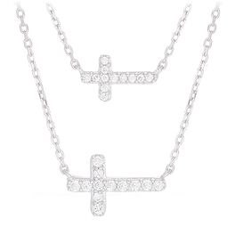 Double Cross Layering Necklace, , large